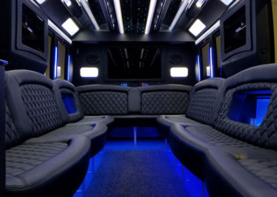 White F450 Limo Bus Interior